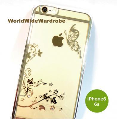 ★ストーン付お花と蝶々柄シンプルiPhone6/6sクリアーカバージャケットケー ス