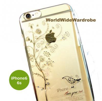 ★ストーン付お花と小鳥柄シンプルiPhone6/6sクリアーカバージャケットケース
