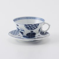 丸紋山水絵ティーカップ&ソーサー