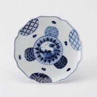 丸紋山水絵五寸菓子皿