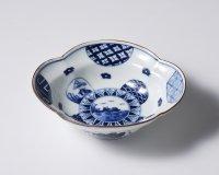 丸紋山水絵木瓜形小鉢