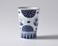 丸紋山水絵一方押しフリーカップ