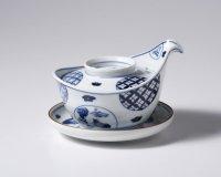 丸紋山水絵手付蒸し碗(台皿・スプーン付き)