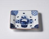 丸紋山水絵五寸正角皿
