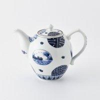 丸紋山水絵長形ポット