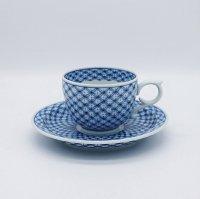 七宝文丸形コーヒーカップ&ソーサー(取手変形型)