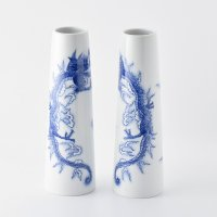 登り窯 昇龍文長形花瓶(小)(二本揃)