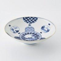 丸紋山水絵パスタ鉢