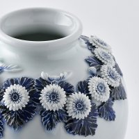 登り窯 平戸菊花飾染付茄子形花瓶