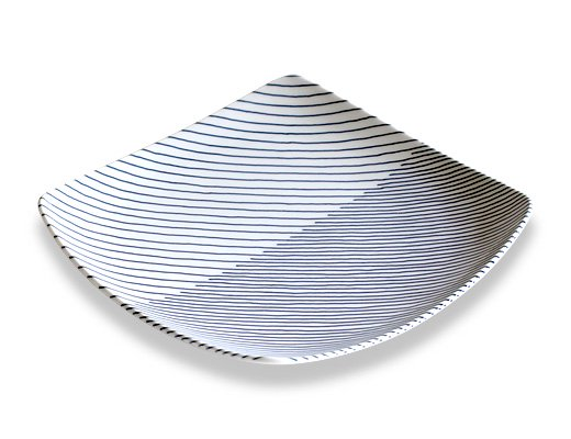 白山陶器 重ね縞 反角多様皿