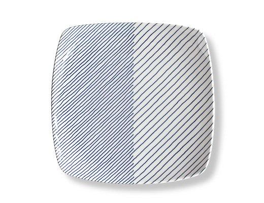 白山陶器 重ね縞 反角多様皿 イメージ2