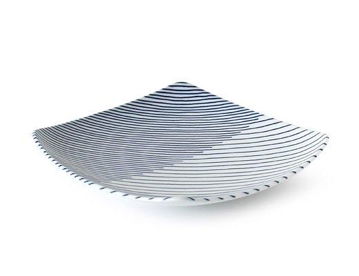 白山陶器 重ね縞 反角中皿