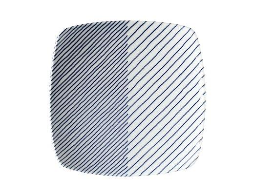白山陶器 重ね縞 反角中皿 イメージ2