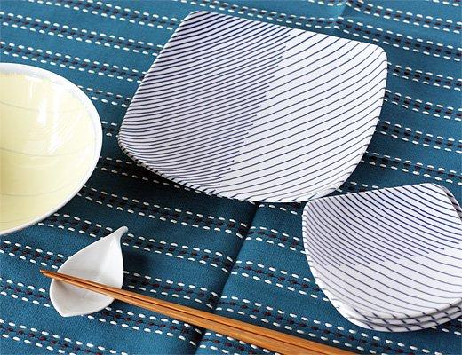 白山陶器 重ね縞 反角中皿 イメージ6