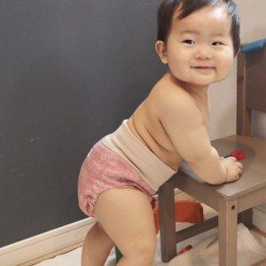 布おむつカバー パンツ型カバー ユニコーンと虹 Lサイズ ダブルガーゼ リブウエスト おむつなし育児 トイレトレーニング 布おむつ育児