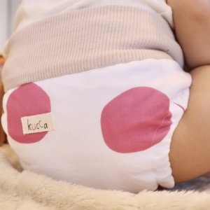 布おむつカバー パンツ型カバー kucca Dots With emoemo  LLサイズ〈オリジナルテキスタイル〉ダブルガーゼ リブウエスト おむつなし育児