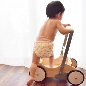 布おむつカバー パンツ型カバー まるマルmaroonRED   LLサイズ ダブルガーゼ リブウエスト おむつなし育児