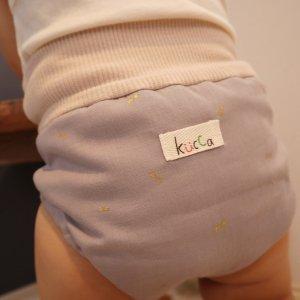 布おむつカバー パンツ型カバー ラムネシャボンドッツ   LLサイズ ダブルガーゼ リブウエスト おむつなし育児