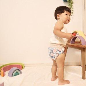 布おむつカバー パンツ型カバー Berry's flower Mサイズ ダブルガーゼ リブウエスト おむつなし育児 トイレトレーニング
