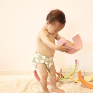 布おむつカバー テープカバー はんぶんこっこイエロー Mサイズ ダブルガーゼ 布おむつ育児 外ベルト