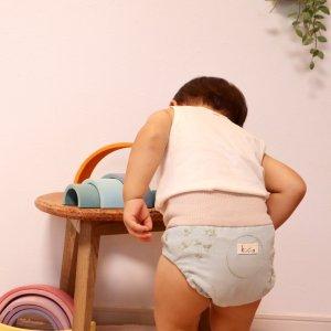 布おむつカバー パンツ型カバー グリーンリーフの風 LLサイズ ダブルガーゼ リブウエスト おむつなし育児 トイレトレーニング 布おむつ育児