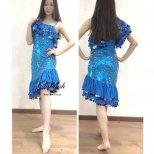 ベリーダンス衣装 ミラーヤドレス ブルー&シルバーml003 エジプト製即納品
