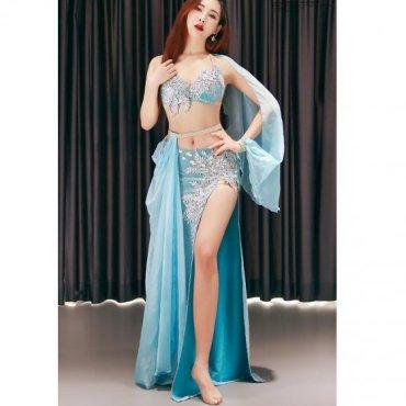 ベリーダンスオリエンタル衣装 シルバー&ライトブルー lw1580