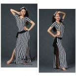 ベリーダンス衣装 ボーダーラインプリントサイーディドレス  SD0221「ワンピース」「レッスンウエア」