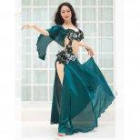 ベリーダンス衣装 ブラ、スカート繋ぎデザインサテンフレア OC1402