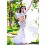キッズベリーダンス衣装 スパンコール羽装飾デザイン シルバー&ブルー kds0241