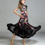 ラテンダンス衣装 社交ダンススーツベロアプリント柄デザイン lt0246