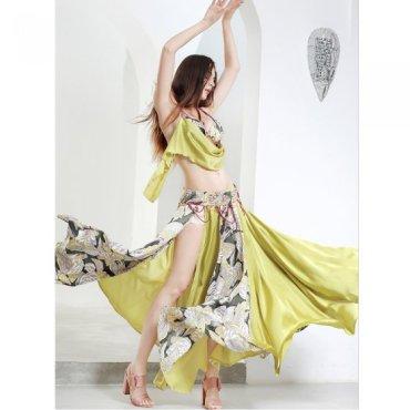 ベリーダンスオリエンタル衣装 ドレープデザインブラ&360度フレアスカートベルトセット モスグリーン oc1458