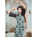 チャイナ風レース&フラワーシースルー素材ドレス lw1465 2色展開