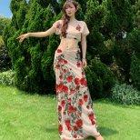 レッスンウエア  トップス&巻きスカートスパンコール刺繍シースル素材 lw1468 2色展開