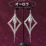 ラインストーンピアス  オーロラ ピアスフックシルバー925純銀 ac1504