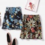 スパンコールエスニック花柄刺繍膝上丈スカート tsa0011