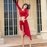 レッスンウエア ラインストーン装飾トップス&巻きスカート 【全2色】lw1585