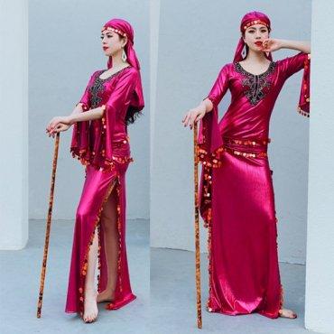 ベリーダンス衣装 サイーディドレス  ドレス、ヒップスカーフ、ヘアスカーフ、インナーショートパンツ4点セット sd1592