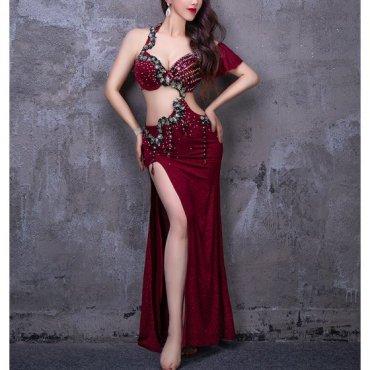 ベリーダンスオリエンタル衣装 ハーフショルダーフリルデザインワインレッド lw1615
