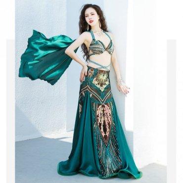 ベリーダンスオリエンタル衣装 ブラ&マーメイドスカートスカーフ付き 【全2色】lw1616