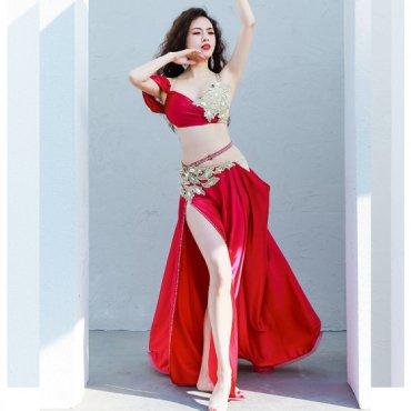 ベリーダンスオリエンタル衣装 ドレープデザインブラ&フレアスカート 【全2色】lw1617
