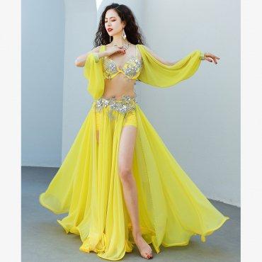 ベリーダンスオリエンタル衣装 スリープ付きブラ&両サイドスリットスカートセット 全2色 lw1637