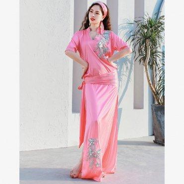 baladi shaabi saidi ドレス ヒップスカーフ ヘアスカーフ インナーショートパンツ 4点セット 全3色 lw1646
