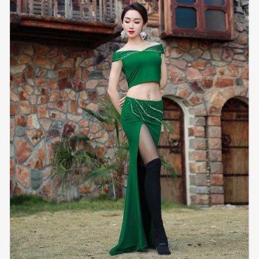 レッスンウエア ビジューデザイン ショルダーオープントップス&マーメイドスカート 全2色 lw1647