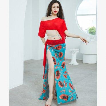 レッスンウエア ゆったりめトップス&プリント柄スカート 全3色 lw1657