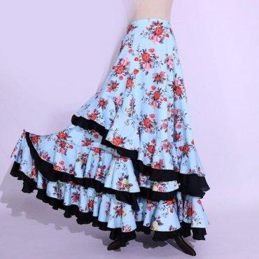 ジプシースカート トライバル フラメンコ フリルマーメイドスカート 花柄プリント ブルー  lw1687 ■受注後製作