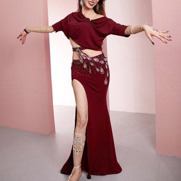 レッスンウエア ビジュー装飾ゆったり目トップス&ハイウエストフレアスカート 2色 lw1730