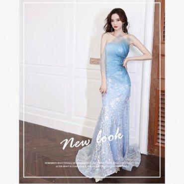 パーティードレス ロングドレススパンコールマーメイドラインドレス ライトブルー tsa1733