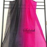 シルク100%グラデーションベール Black&Rosepink SV0689