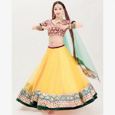 ボリウッドダンス衣装 チョリ スカート ベール3点セット 全2色 B0486
